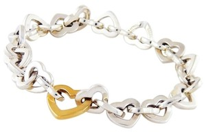 Tiffany & Co. Tiffany & Co. Two-Tone Sterling Silver 18k Gold Open Heart Bracelet