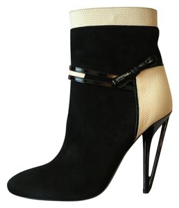 Fendi Black Cream Suede Boots