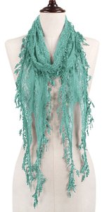 Lace Accent Boho Chic Mint Leaf Fringe Scarf