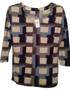 Gap Shirt Geometric Squares V-neck 3/4 Sleeves Top