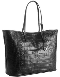 Furla Crocodile Leather Tote in Black/Onyx