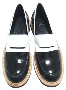 flamingos Scalloped Loafers Black White Flats