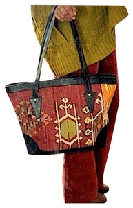 Kilim Leathers Tote in Earthtones Oxblood