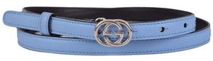 Gucci New Gucci Women's 370552 Blue Leather Interlocking GG Buckle Skinny Belt 38 95