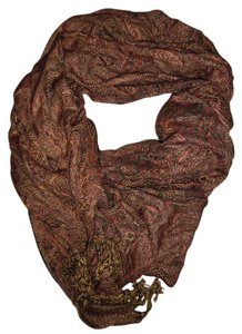 Paisley Earth Tones Fringe-End Boho Gypsy Scarf