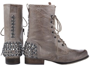Betsey Johnson Boho Leather Studded Crystal Gray-Taupe Boots