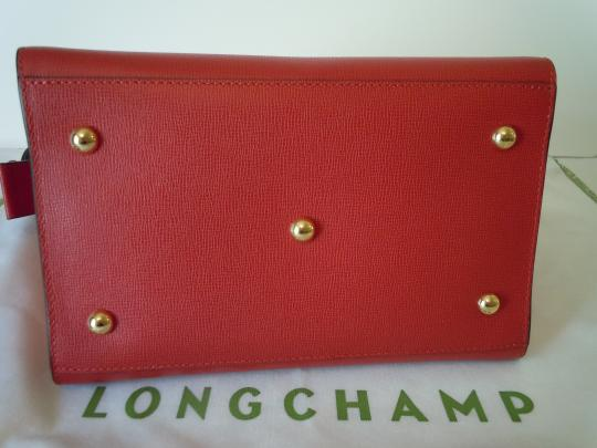 Longchamp Handbag Shoulder Saffiano Crossbody Satchel in carmine red