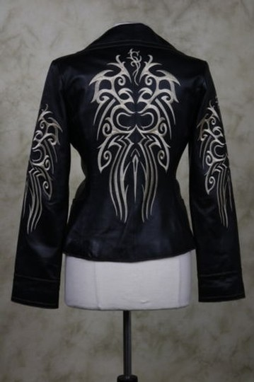 lovely Sheri Bodell 100% Lambskin Leather Embroidered Moto Size Sm Black / Beige Leather Jacket - 66% Off Retail