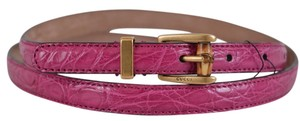 Gucci New Gucci Women's 339065 Pink Alligator Skinny Bamboo Buckle Belt 38 95