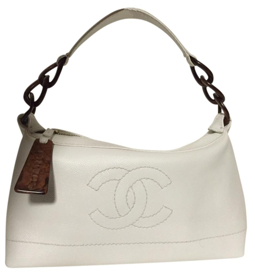 Chanel Priced Reduced For Quick Sale  with Turtle Shell Chain White Caviar  Leather Shoulder Bag 69% off retail