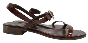 Vaneli Ankle Strap Patent Leather Brown Sandals