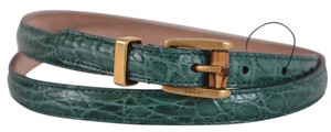 Gucci New Gucci Women's 339065 Green Alligator Skinny Bamboo Buckle Belt 36 90