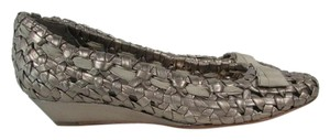 Cole Haan Woven Mid Heel Round Toe Leather Silver Wedges