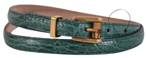 Gucci New Gucci Women's 339065 Green Alligator Skinny Bamboo Buckle Belt 32 80