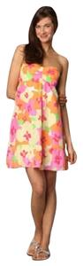 Lilly Pulitzer short dress Classic Strapless Flowers Silk on Tradesy