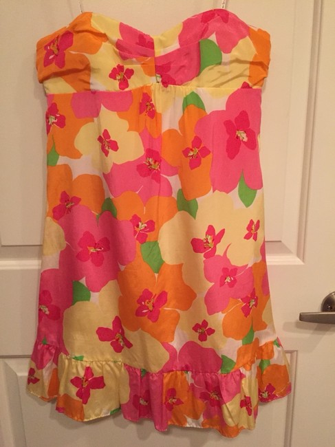 Lilly Pulitzer short dress Pink Classic Strapless Flowers Silk on Tradesy