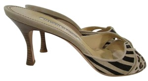 Manolo Blahnik Slide On High Heel Open Toe Beige Sandals
