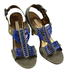 Twelfth St. by Cynthia Vincent Heels Grey Metallic Blue Comfortable Grey, blue Sandals