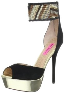 Betsey Johnson Stiletto Beaded Leather Glam New York Black Gold Pumps