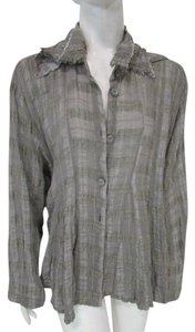Dress To Kill Draped Relaxed Fit Long Sleeve Pleated Button Down Shirt Gray