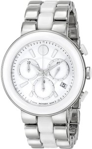 "Movado NWT Movado ""Cerena"" Stainless Steel and Ceramic CHRONOGRAPH Watch 0606758 NEW IN BOX ($1495+tax)"