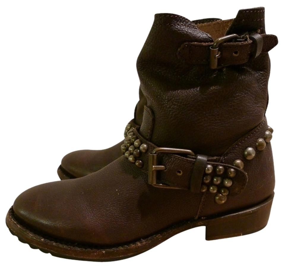 Ash Brown Leather Footwear Vicious Leather Brown Studded Ankle Boots/Booties 16cc2d