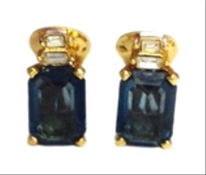 Dior Christian Dior Blue and Gold Plated Clip On Earrings