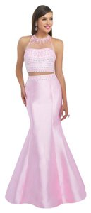 Blush Prom Crop Top Mermaid Beaded Bling Dress