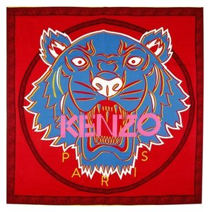 Kenzo Red Tiger Print Wool and Silk Blend Scarf