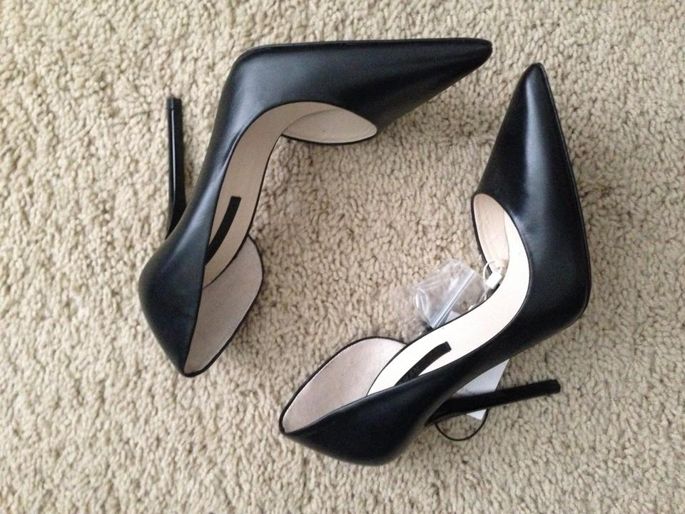 c93816eec3a Zara Asymmetric Leather Court Stiletto Heels Black Pumps Image 7. 12345678