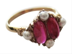 & Other Stories Authentic Natural Ruby Pearl Gold Ring 14K Vintage 1920's