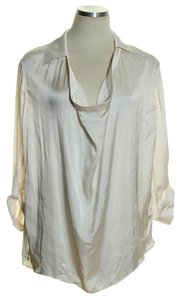 Vince Cowl Neck Roll-tab Sleeve Top Ivory
