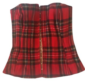 Dolce&Gabbana Corset D&g Tartain Top Red Plaid