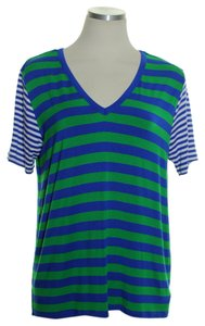 MICHAEL Michael Kors Striped Short Sleeve V-neck T Shirt Blue Green
