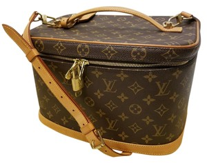 """Louis Vuitton """"NICE"""" Cosmetic Beauty Case Train Case Purse Bag with Shoulder Strap Luggage Tag Lock Key Dustbag"""