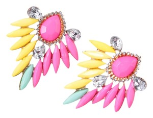 Brand NEW Colorful Boho Chic Acrylic Gold Tone Alloy Earrings