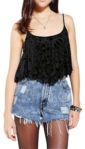 Urban Outfitters Velour Straps Bandeau Crop Flowy Black Halter Top