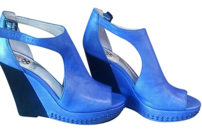 Item - Bluish/Purple and Black with Studs Open-toe Wedges Size US 6.5 Narrow (Aa, N)