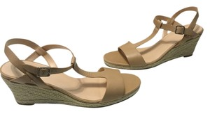 Cole Haan Leather Lining Jute Wrapped Slingback Open Toe Sandstone leather Wedges