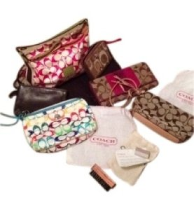 Coach Wristlet in Pink, brown, multi
