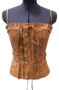 Roberto Cavalli Leather Lace Up Ruffle Bustier Top