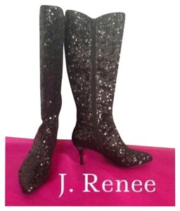 J. Renee Black Sequin Boots