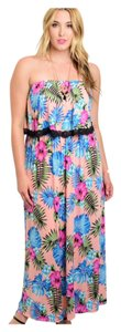 Peach, Blue, Greens Maxi Dress by Plus Size Fashions Lined Maxi