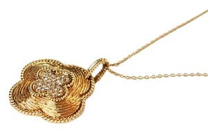 Clover necklace 14 kt gold with pave diamonds