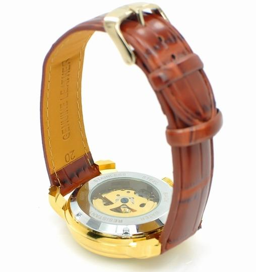 Foksy Immaculate Custom Made Men's Automatic Gold Skeleton Watch With Rich Leather Band Free Shipping