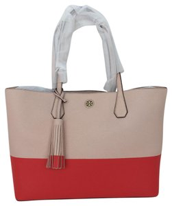 Tory Burch Tote in Pale Apricot Poppy Red