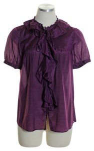 J.Crew Silk Blend Ruffle Button Down Top Purple