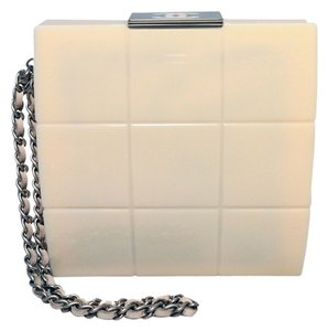 Chanel Clutch Box Box Clutch Resin Clutch Wristlet in Cream