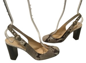 Kate Spade Embossed Upper Italian Pattern Brown shades snake all leather slingback Pumps