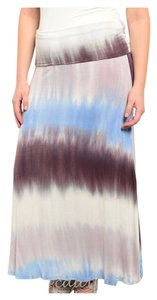 USA Boutique Bohemian Free People Anthropologie Long Plus Size Maxi Skirt Blue/Brown/Cream